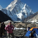 K2 Base Camp Trek, our member standing infront of K2