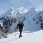 Jurau glacier 5200 m.  Siula Grande 6300 mand Carnicero 5800m behind.