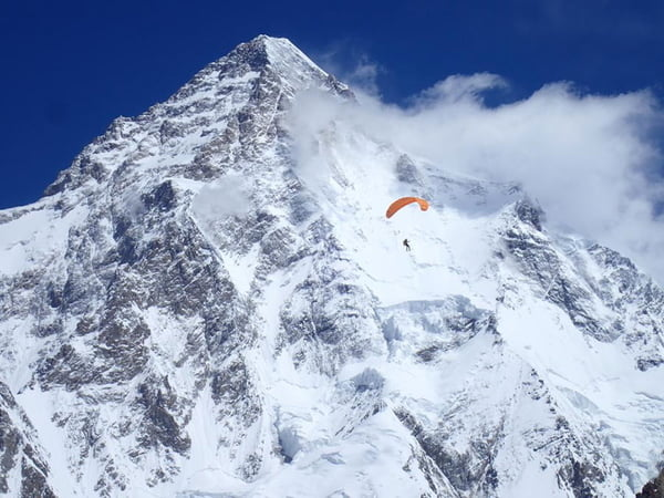 Max Berger Summits Broad Peak, Paraglides From Camp 3 (Video)