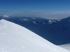 Image of normal route to south summit, Nevado Illimani (6 438 m / 21 122 ft)