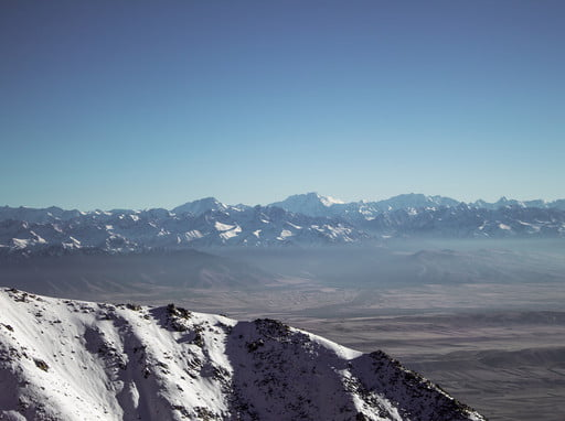 Bicycle tour and trekking (View of the highest peaks of Kyrgyzstan).