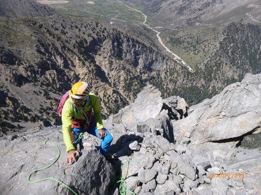 Trad rock Climbing